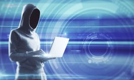 Hacking and malware concept. Side view of young hacker using laptop on blurry background. Hacking and malware concept. Double exposure royalty free stock image