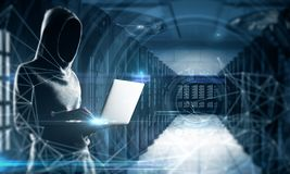Hacking and malware concept. Side view of young hacker using laptop on blurry polygonal server room background. Hacking and malware concept. Double exposure stock photos