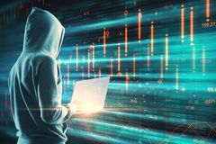 Big data and criminal concept. Side view of young hacker using laptop on digital background. Big data and criminal concept. Multiexposure royalty free stock photography