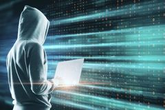 Big data and malware concept. Side view of young hacker using laptop on digital background. Big data and malware concept. Multiexposure royalty free stock image