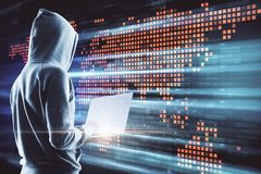 Big data and international concept. Side view of young hacker using laptop on digital map background. Big data and international concept. Double exposure stock images