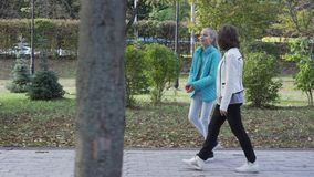 Side view of young-looking caucasian grandmother and her teenage granddaughter dressed in casual clothes walking in the. Summer park and chatting. Good stock video
