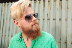 Side view of a young man with beard Royalty Free Stock Photo