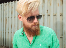 Side view of a young man with beard Royalty Free Stock Photos