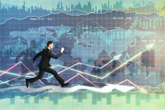 Trade and fund management concept. Side view of young running businessman on glowing forex background. Trade and fund management concept. Double exposure Royalty Free Stock Images