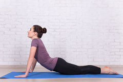 Side view of young slim woman doing stretching exercises Stock Image