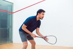 Young squash player holding the racket during game on a professional court. Side view of a young squash player holding the racket while standing with bent knees Royalty Free Stock Photography
