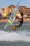 Side view of young windsurfer Royalty Free Stock Images