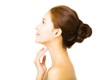 Side view young  woman with clean face Stock Photo