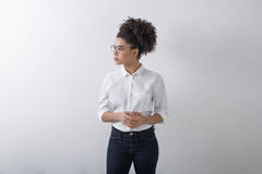 Side view of young woman. Confident stock photo