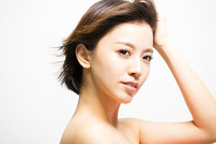 Side view of young Woman with hair motion Royalty Free Stock Images