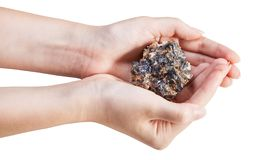 Side view of zinc and lead mineral ore in handful Royalty Free Stock Images