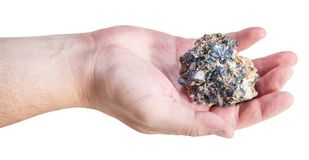 Side view of zinc and lead ore on male palm Royalty Free Stock Photos