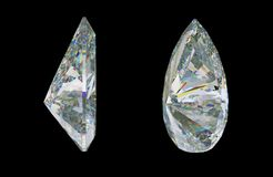 Side views of pear cut gemstone or diamond on black. 3d rendering, 3d illustration Royalty Free Stock Photography