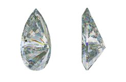 Side views of pear cut gemstone or diamond on white. 3d rendering, 3d illustration Royalty Free Stock Images