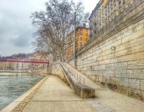 The side walk of the river Saone of Lyon, Lyon old town, France Stock Images