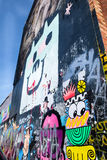 A side wall of building covered with graffiti art, London UK Stock Images