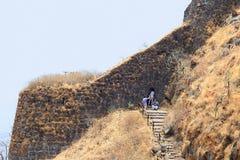 Side wall and steps inside Sinhagad fort, Sinhagad Fort, Pune. Maharashtra, India royalty free stock images
