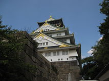Side-way view of the Osaka Castle Stock Images