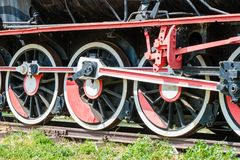 steam locomotive side wheel view of old fashioned  Royalty Free Stock Photography