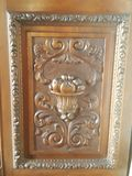 Rich detail. Side of a whole crafted wood cabinet, beautiful art, rich detail royalty free stock images