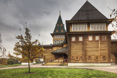 Side of wooden palace Stock Images