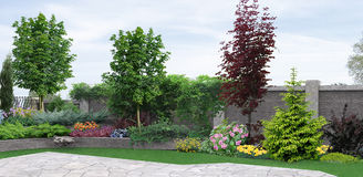 Side yard planting of greenery, 3d rendering Stock Images