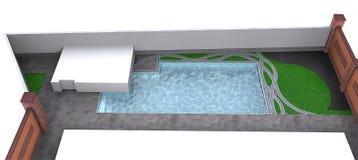 Side yard poolside, 3d rendering Stock Photo