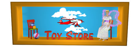 Sidebanner agradável para uma loja do Internet para brinquedos ilustração royalty free