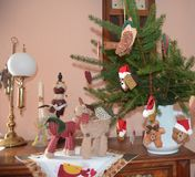 Sideboard decorated with Christmas motives Stock Image