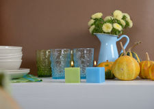 Sideboard with Thanksgiving decorations Stock Photo