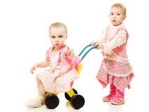 sidecar езды малышей стоковое изображение