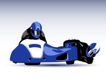 Sidecar. Realistic vector illustration of blue motorcycle sidecar Stock Photos