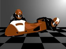 Sidecar. Realistic vector illustration of brown motorcycle sidecar Stock Photo