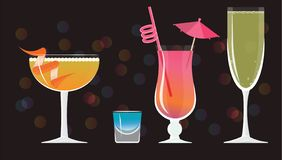 Sidecar cocktail, Blue Kamikaze ,French 75, Mai Tai ,Bellini cocktails stock illustration