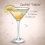 Sidecar cocktail in martini glass. Vector illustration, EPS 10 Royalty Free Stock Photos