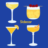 Sidecar cocktail variations. Sidecar alcohol cocktail in different glasses - vector illustration for bar menu, restaurant decoration, party poster Royalty Free Stock Image