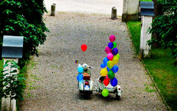 Sidecar colored balloons. Sidecar with colored balloons, ready for the travel Stock Photography