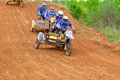 Sidecar cross Championship of the Grodno area. The open Championship of the Grodno area, Belarus, on the cross-country race. Date 12 may 2012. Grodno-Azot team Royalty Free Stock Photo