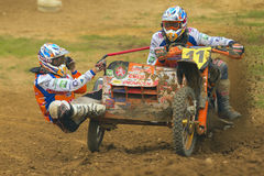 Sidecar Cross Race. JEVICKO, CZECH REPUBLIC - JULY 23. Unidentified racers rides a sidecar in the Sidecarcross Cup 2011 on July 23, 2011 in the town of Jevicko Stock Photo