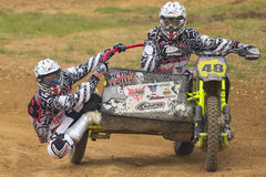 Sidecar Cross Race. JEVICKO, CZECH REPUBLIC - JULY 23. Unidentified racers rides a sidecar in the Sidecarcross Cup 2011 on July 23, 2011 in the town of Jevicko Stock Photography