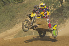 Sidecar cross race. MOHELNICE, CZECH REPUBLIC - SEPTEMBER 17. Unidentified racers rides a sidecar in the Sidecar cross Championship of Czech Republic  on Royalty Free Stock Image