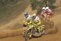 Sidecar cross race. MOHELNICE, CZECH REPUBLIC - SEPTEMBER 17. Unidentified racers rides a sidecar in the Sidecar cross Championship of Czech Republic  on Royalty Free Stock Photos