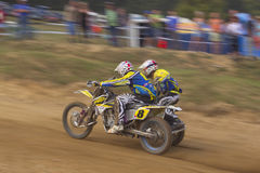 Sidecar cross race. MOHELNICE, CZECH REPUBLIC - SEPTEMBER 17. Unidentified racers rides a sidecar in the Sidecar cross Championship of Czech Republic  on Stock Photo