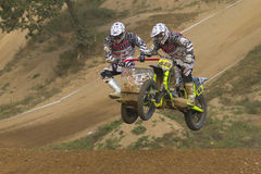 Sidecar cross race. MOHELNICE, CZECH REPUBLIC - SEPTEMBER 17. Unidentified racers rides a sidecar in the Sidecar cross Championship of Czech Republic  on Royalty Free Stock Photo