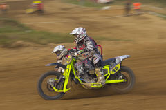 Sidecar cross race. MOHELNICE, CZECH REPUBLIC - SEPTEMBER 17. Unidentified racers rides a sidecar in the Sidecar cross Championship of Czech Republic  on Royalty Free Stock Images