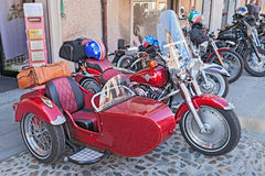 Sidecar rouge Harley Davidson Photo stock