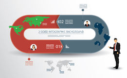 2 sided infographics background Stock Photo