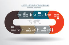 6 sided infographics background. For statistics, banners, ads, websites and printed media Royalty Free Stock Photo