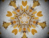 5 sided star abstract extrude mandala. Small square blocs extruded mandala with abstract five sided star shape. White, brown and yellow Royalty Free Stock Photo